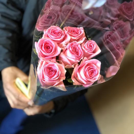 Розы розовые 7 Шт: букеты цветов на заказ Flowwow