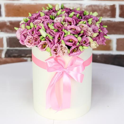 Шляпная коробка из розовой эустомы(19 шт). N801: букеты цветов на заказ Flowwow