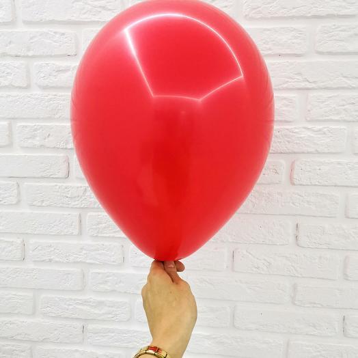 5 Красный Гелиевый шар пастель 30см с обработкой
