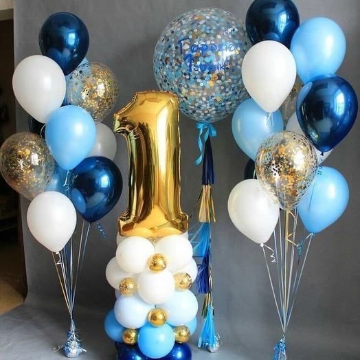 Гелиевые шары набор на годик синий с голубым