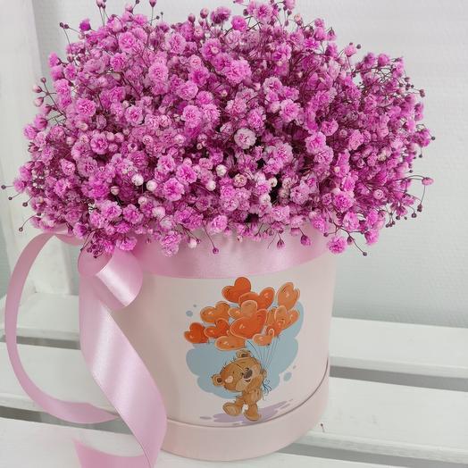 """""""Для тебя"""" 27см с розовой кружевной гипсофилой в шляпной коробке"""