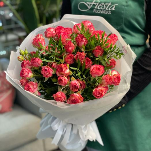 Bouquet of 9 branches spray roses with greenery