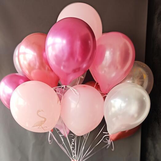 Шары микс в розовых тонах (15 шт)