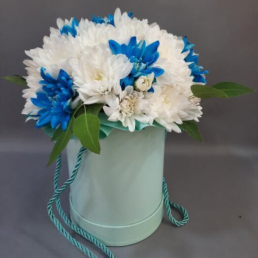 Бирюзовый коробка с хризантемой