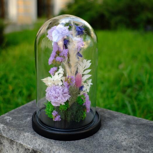 Стеклянный клош со стабилизированными цветами и дельфиниумом
