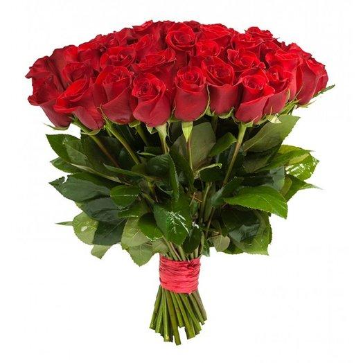 55 роз красных 50 см: букеты цветов на заказ Flowwow
