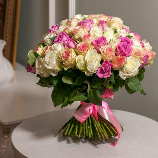 "101 роза ""Воздушный микс"": букеты цветов на заказ Flowwow"