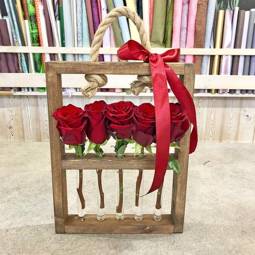 Wooden box of bulbs and roses: flowers to order Flowwow