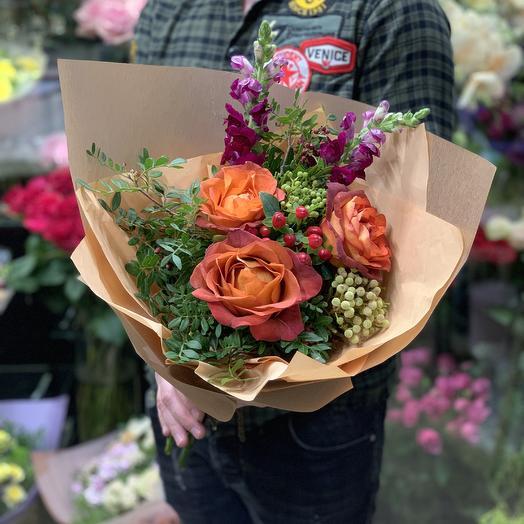 Букет с французской розой Кофе Брейк: букеты цветов на заказ Flowwow