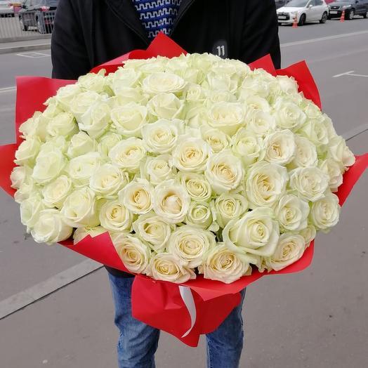 Букет из 101 белые розы: букеты цветов на заказ Flowwow
