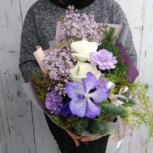 Красивый букет из сирени и орхидеи: букеты цветов на заказ Flowwow