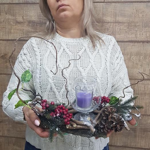 Зимняя композиция со свечой: букеты цветов на заказ Flowwow