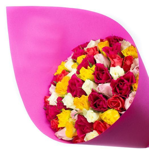 Разноцветный микс из кенийских роз: букеты цветов на заказ Flowwow
