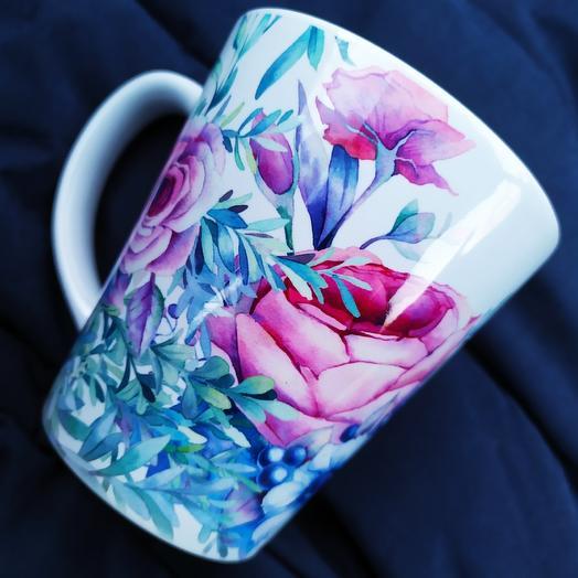 "Кружка латте ""Цветочный букет"": букеты цветов на заказ Flowwow"
