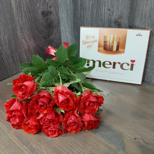 Роза и МЕРСИ: букеты цветов на заказ Flowwow