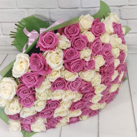 Букет из 101 розово-белой розы
