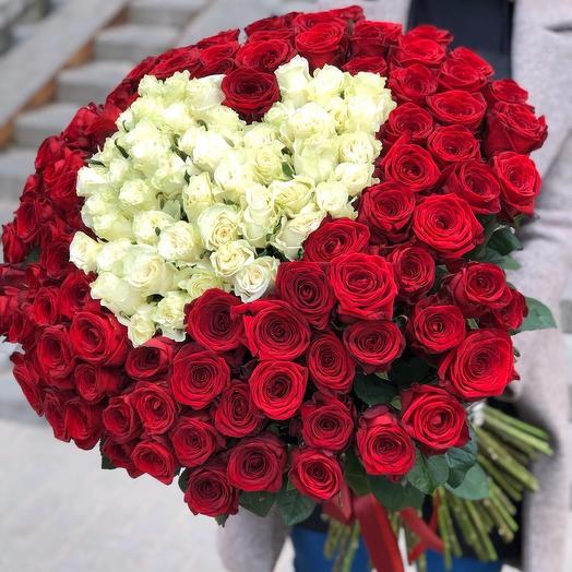 Bouquet of 151 white and red roses