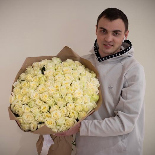 101 белая роза ( 60 см )