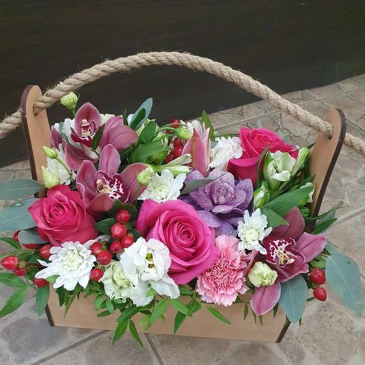 Stylish box of fresh flowers