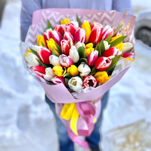 Bouquet of 51 multi-colored tulips