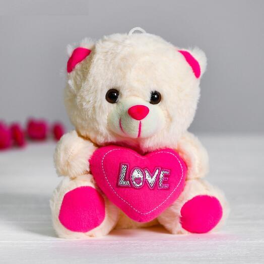 Мягкая игрушка «Мишутка с сердцем», цвет розовый