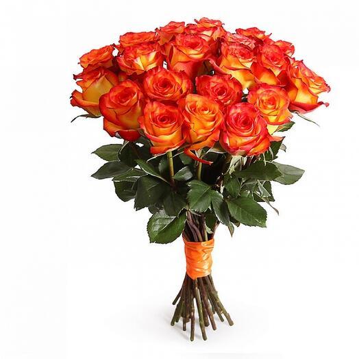 Монобукет 21 Оранжево-Красная роза 60см