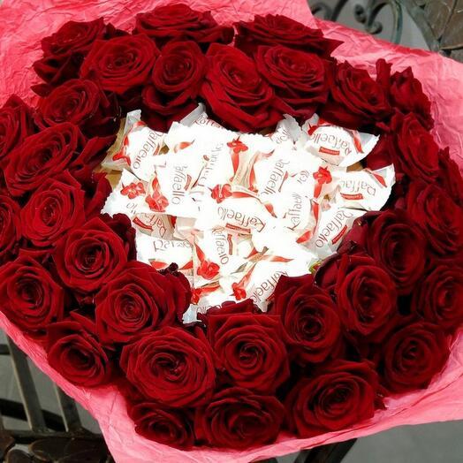 Букет розы и конфеты