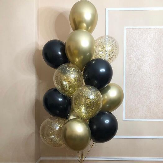 Фонтан черно-золотых шаров