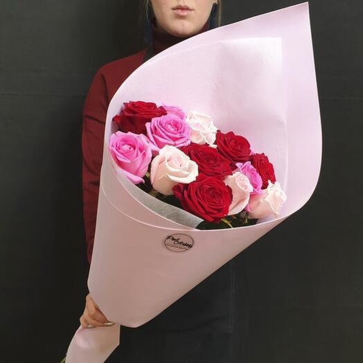 """Букет """"15 роз с крупным бутоном"""" 60 см"""