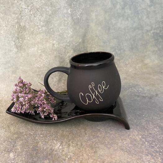Кофейный набор Coffee, черный, 2 предмета: подставка, чашка 0.2 л