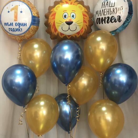 Композиция из шаров на 1 год со львом