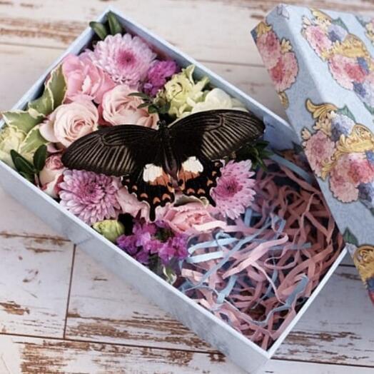цветы в коробке и живая бабочка