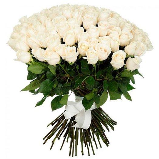 Букет 101 поцелуй в белом из белых роз Код 170009: букеты цветов на заказ Flowwow