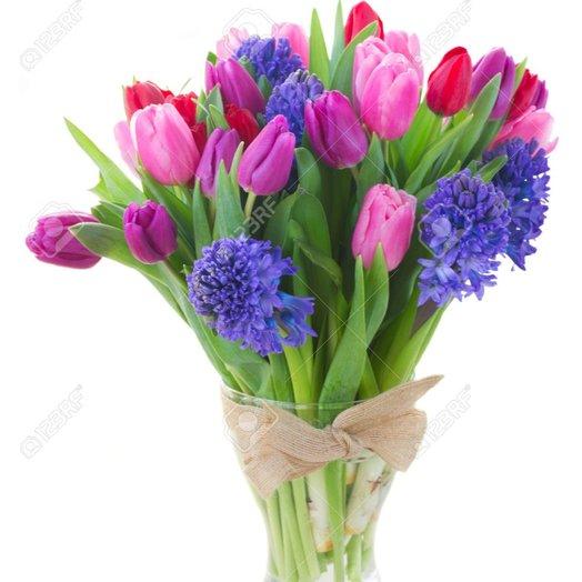 Весенний микс в вазе: букеты цветов на заказ Flowwow