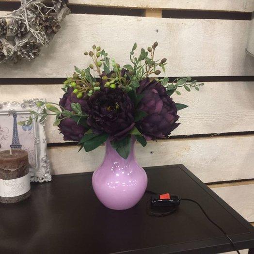 Винный пион - композиция с подсветкой: букеты цветов на заказ Flowwow