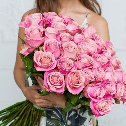 51 Нежно-Розовая Эквадорская Роза 80см: букеты цветов на заказ Flowwow