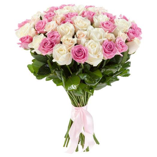 Букет из белых и розовых роз: букеты цветов на заказ Flowwow