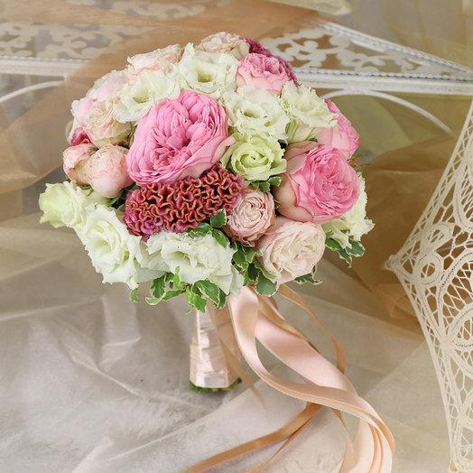 Букет невесты из роз пионов и лизиантуса: букеты цветов на заказ Flowwow