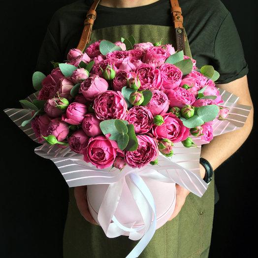 Коробочка пионовидных роз: букеты цветов на заказ Flowwow
