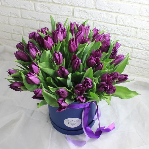 49 фиолетовых тюльпанов в коробке: букеты цветов на заказ Flowwow