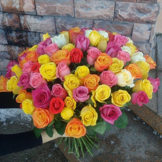 Яркий микс роз: букеты цветов на заказ Flowwow
