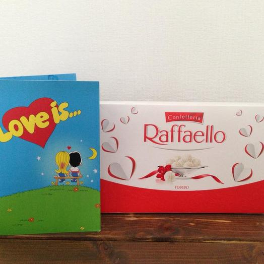 Раффаэлло и шоколадная открытка: букеты цветов на заказ Flowwow