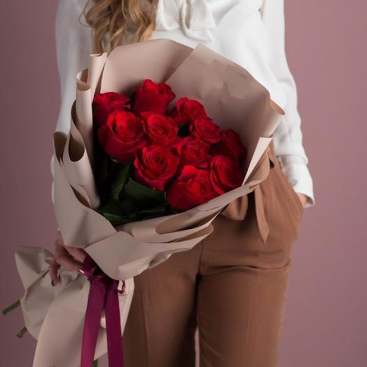 11 Розочек в упаковке: букеты цветов на заказ Flowwow