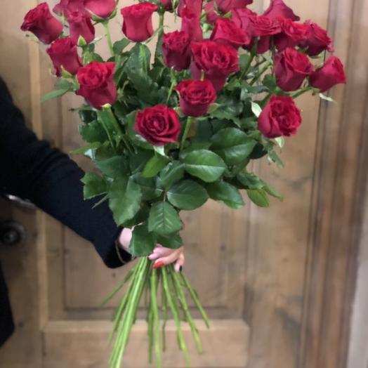 """Большой букет из роз  """"21 розочка бордовая"""""""