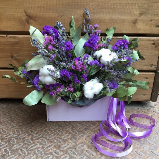 Коробочка сухоцветов-Вечность: букеты цветов на заказ Flowwow
