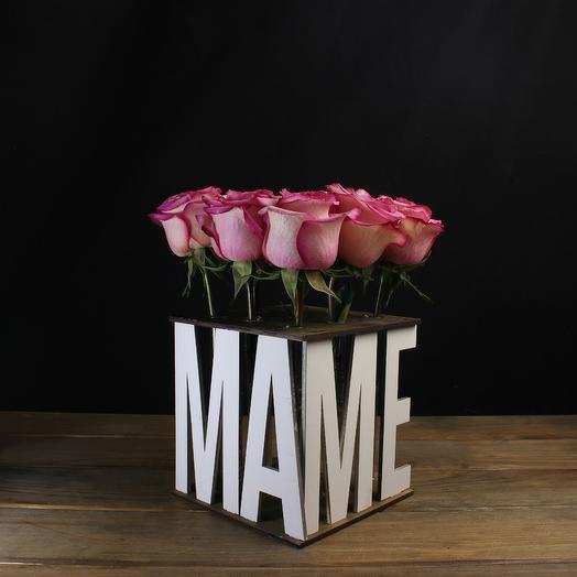 "Композиция ""Маме"" (белая) из 9 роз: букеты цветов на заказ Flowwow"
