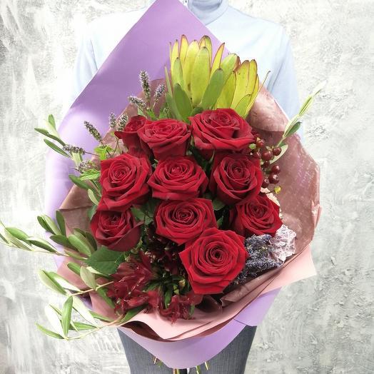 Букет из роз,лаванды,оливы Магия Любви: букеты цветов на заказ Flowwow