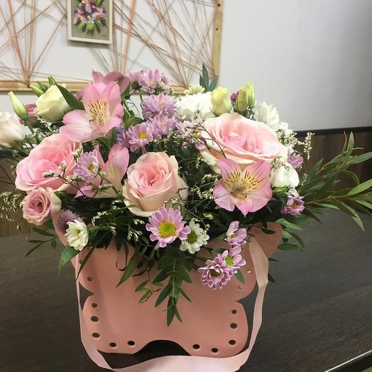 Композиция «Розовая бабочка»: букеты цветов на заказ Flowwow