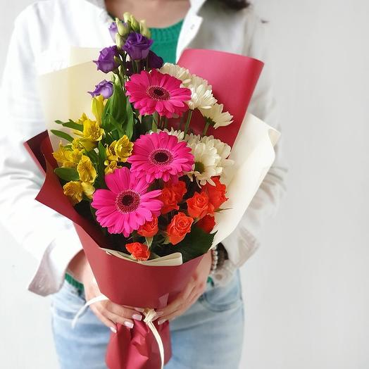 Яркий букет из гербер и альстромерии: букеты цветов на заказ Flowwow