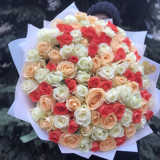 101 нежная роза 60см: букеты цветов на заказ Flowwow